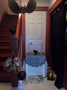 Front entrance decorated to hand out Halloween candy.