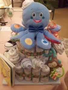 Diaper cake I made for a friends baby shower.