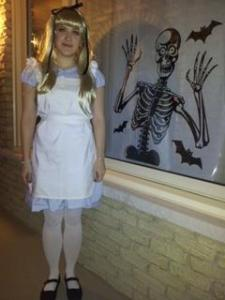 Me dressed in my homemade Alice in Wonderland costume.
