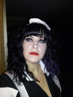 Me dressed as Magenta to see a production of Rocky Horror Picture Show.