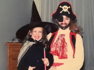 Me dressed as a witch and Mum as a pirate.