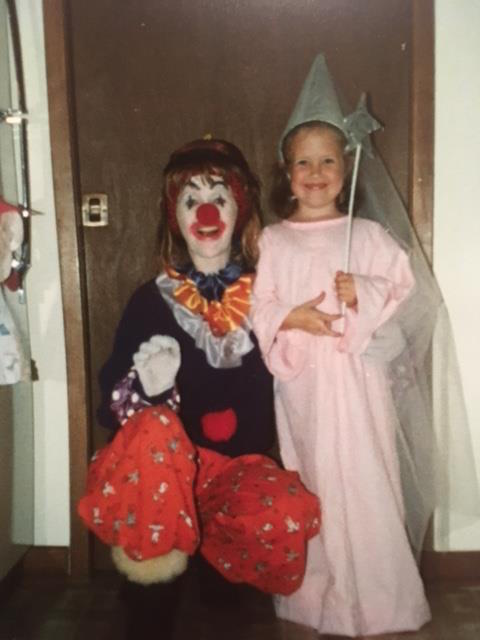 Me and Mum at Halloween. I'm dressed up as a princess and she's dressed as a clown.