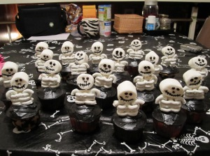 A little army of skeleton cupcakes.