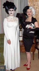 Mum dress as Bride of Frankenstein and I'm dressed as Cruella de Vil.