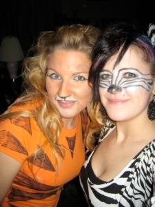Dressed as a zebra and a liger for an animal themed house party.