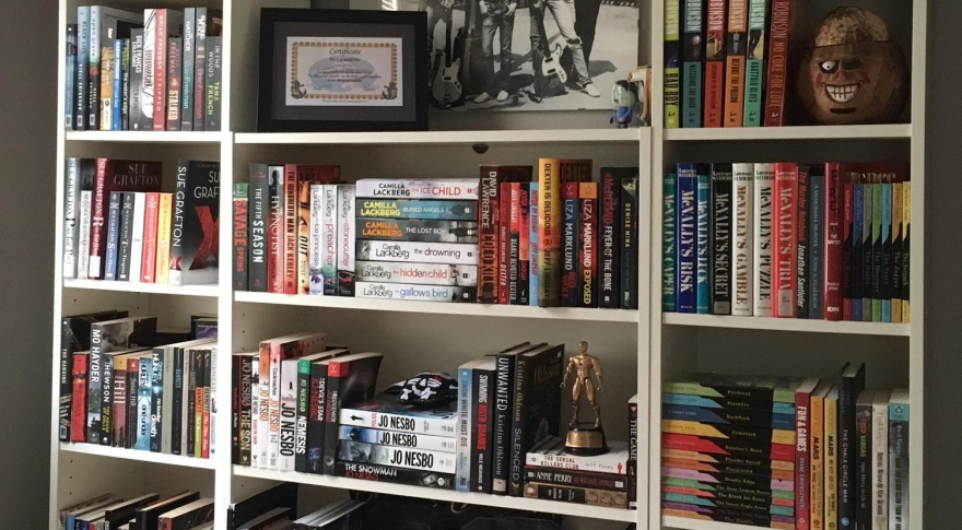 Here is one set of bookshelves in my office.