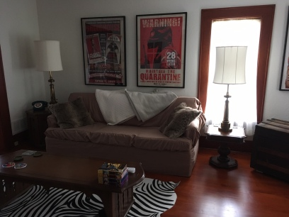 These movie posters are a great addition to the living room.