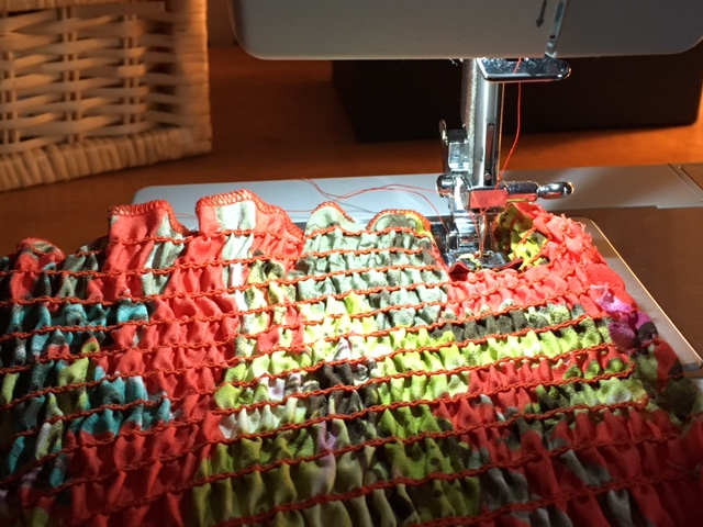 Sewing in our back seam.