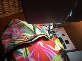 What the hem looks like as the second fold over is being sewn down.