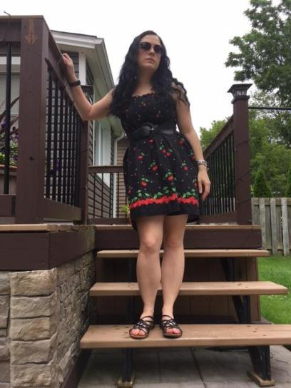 This cute cherry dress was made for me by a friend.