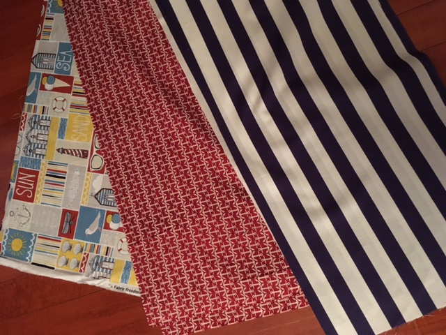 These are the three fabrics I selected to compliment my pirate sheets.