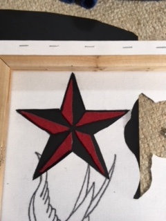 Using the canvas cut out as a guide, trace around the nautical star.