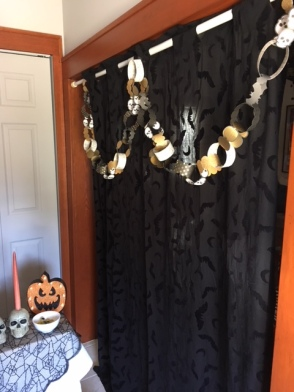 A bat curtain and the garland for a little extra touch.