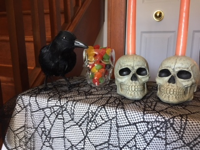The crow is eyeing that candy.