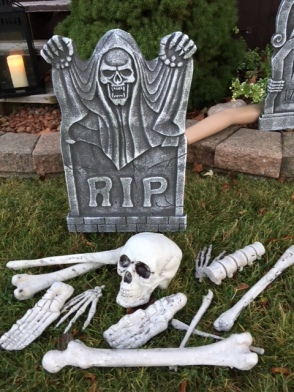 Got some tombstones and bones to decorate the yard.