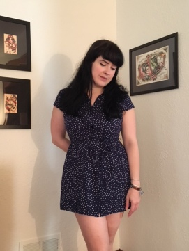 Here is the navy shirtdress after it has been altered.