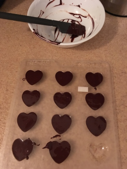 I used half the bar of chocolate, which worked perfectly since I didn't even end up needing all these hearts.