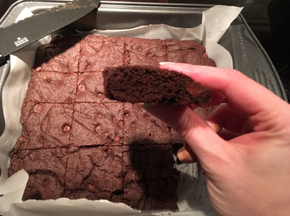 The first time around the brownies dropped after the got out of the oven, this time they stayed nice and thick.