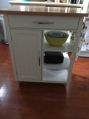 This kitchen cart is my baking station in the kitchen. It holds so much and keeps everything at hand while I'm baking.