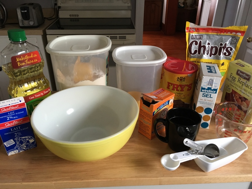 I've got everything ready to go for this chocolate cake recipe.