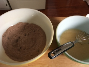 Once both the wet and dry ingredients have been mixed, incorporate them together.