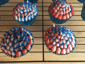 I used a star tip to on the piping bag for these cupcakes.